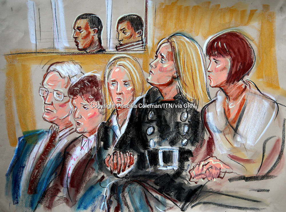 ©Priscilla Coleman ITV News.Supplied by: Photonews Service Ltd Old Bailey.Pic shows: (BACKGROUND) DONNELL CARTY AND DELANO BROWN BEING SENTENCED AT THE OLD BAILEY FOR THE MURDER OF TOM AP RHYS PRYCE. SHOWN IN THE FOREGROUND ARE: (L TO R) JOHN AND ESTELLA AP RHYS PRYCE (PARENTS), ADELLE EASTMAN (FIANCE) AND ADELLE MOTHER VICKEY CHAMBERLAIN..Illustration: Priscilla Coleman ITV News