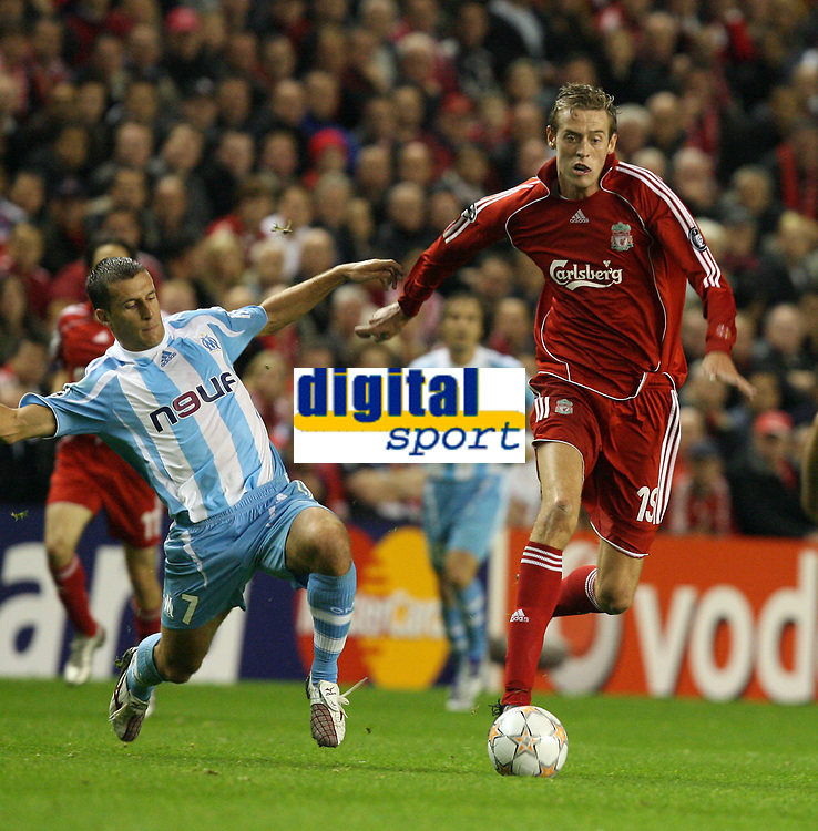 Photo: Paul Greenwood.<br />Liverpool v Marseille. UEFA Champions League, Group A. 03/10/2007.<br />Marseille's Karim Ziani, (L) shapes to tackle Peter Crouch