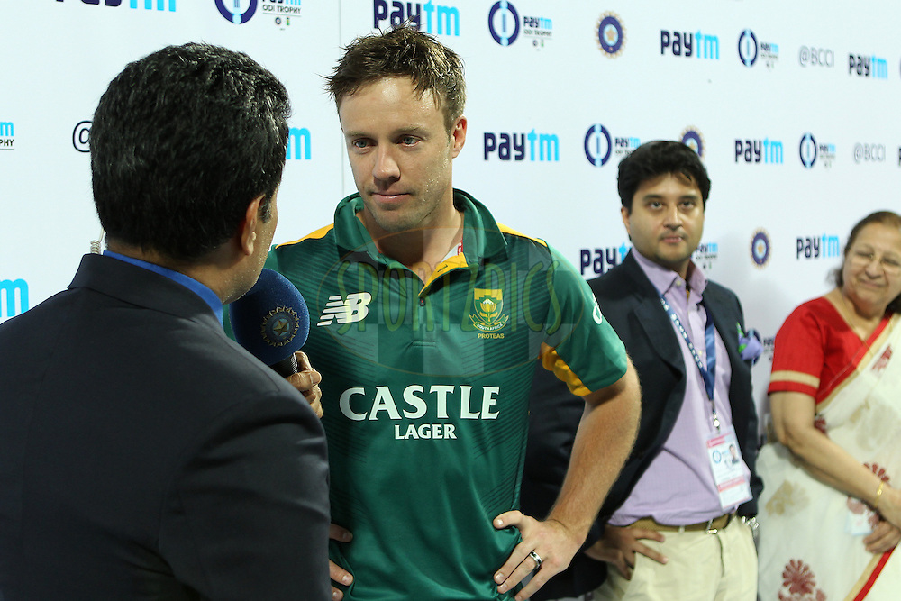 AB de Villiers, captain, of South Africa interviewed after the match during the 2nd Paytm Freedom Trophy Series One Day International ( ODI ) match between India and South Africa held at the Holkar Stadium in Indore, India on the 14th October 2015<br /> <br /> Photo by Ron Gaunt/ BCCI/ Sportzpics
