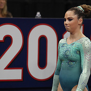 McKayla Maroney, Long Beach, California, in action in the Vault during the Senior Women Competition at The 2013 P&G Gymnastics Championships, USA Gymnastics' National Championships at the XL, Centre, Hartford, Connecticut, USA. 15th August 2013. Photo Tim Clayton