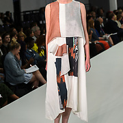 Designer Suzy Gallina showcases lastest collection of Bath Spa University at the Graduate Fashion Week 2018, 4 June 4 2018 at Truman Brewery, London, UK.