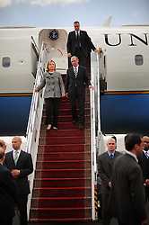 Secretary of State Hillary Rodham Clinton arrives in the United Arab Emirates on Jan. 11, 2011.