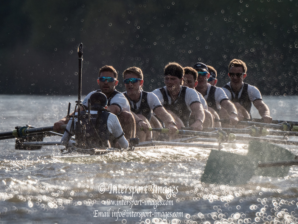 Mortlake/Chiswick, GREATER LONDON. United Kingdom. 2017 Men's Boat Race winners OUBC held over,The Championship Course, Putney to Mortlake on the River Thames.<br /> <br /> Crew: Oxford, Bow: William Warr, 2: Matthew O&rsquo;Leary &ndash; USA, 3: Oliver Cook, 4: Joshua Bugaski, 5: Olivier Siegelaar &ndash; NED, 6: Michael DiSanto &ndash; USA, 7: James Cook, Stroke: Vassilis Ragoussis, Cox: Sam Collier <br /> <br /> Cambridge; Bow: Ben Ruble &ndash; USA, 2: Freddie Davidson, 3: James Letten &ndash; USA., 4: Tim Tracey &ndash; USA., 5: Aleksander Malowany &ndash;CAN., 6: Patrick Eble &ndash; USA, 7: Lance Tredell, Stroke: Henry Meek and Cox: Hugo Ramambason &ndash; <br /> <br /> <br /> Sunday  02/04/2017<br /> <br /> [Mandatory Credit; Intersport Images]