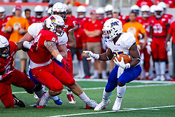 NORMAL, IL - September 07: Jason Lewan wants a piece of Jovan Smith during a college football game between the ISU (Illinois State University) Redbirds and the Morehead State Eagles on September 07 2019 at Hancock Stadium in Normal, IL. (Photo by Alan Look)