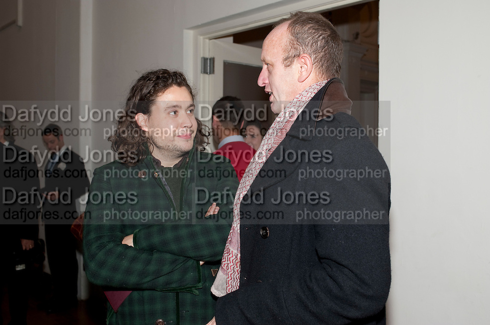ADAM WAYMOUTH; JOHNNIE SHAND KYDD, THE LAUNCH OF THE KRUG HAPPINESS EXHIBITION AT THE ROYAL ACADEMY, London. 12 December 2011.