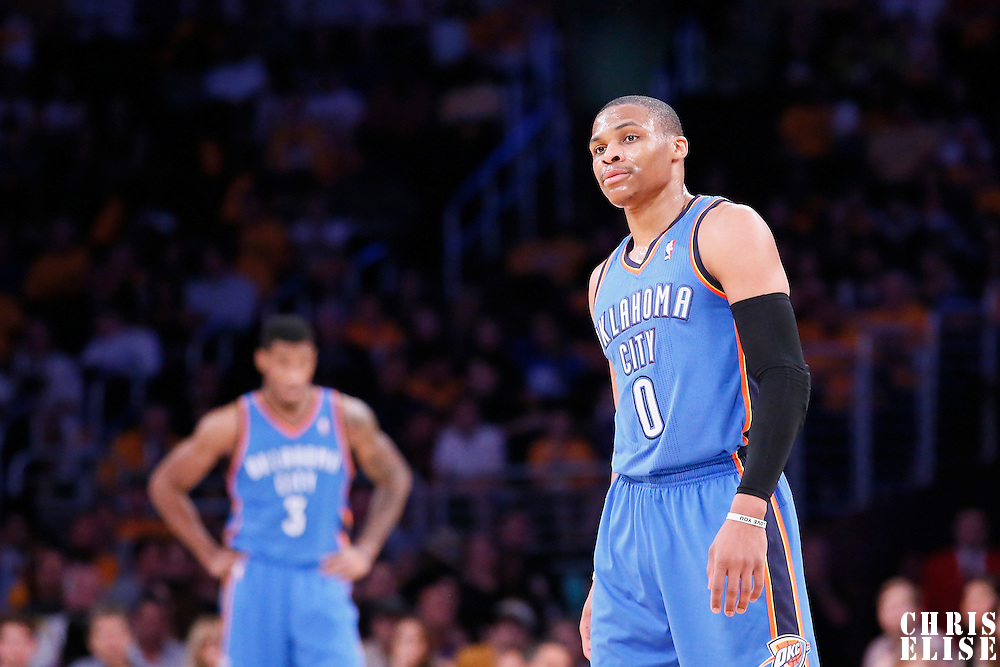 09 March 2014: Oklahoma City Thunder point guard Russell Westbrook (0) is seen during the Los Angeles Lakers 114-110 victory over the Oklahoma City Thunder at the Staples Center, Los Angeles, California, USA.