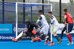 Surbiton's Harry Gibson makes a save. Hampstead & Westminster v Surbiton - Men's Hockey League Final, Lee Valley Hockey & Tennis Centre, London, UK on 29 April 2018. Photo: Simon Parker