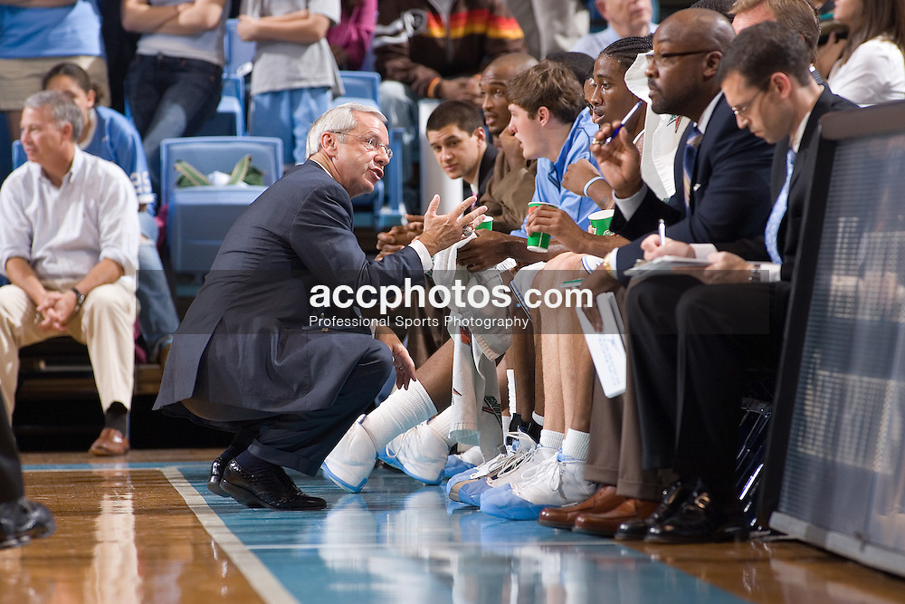 11 November 2006:  North Carolina Tar Heels head coach Roy Williams during a North Carolina Tar Heels 140-101 exhibition win over the Pfeiffer Falcons at the Dean Smith Center in Chapel Hill, NC.<br />
