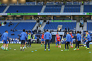Brighton players in warm up during the EFL Sky Bet Championship match between Brighton and Hove Albion and Birmingham City at the American Express Community Stadium, Brighton and Hove, England on 4 April 2017. Photo by Phil Duncan.