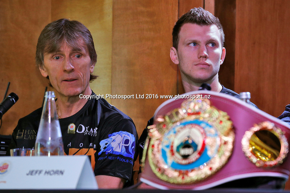 Glenn Rushton (L) and Jeff Horn, Final press conference before the December 10, Parker v Ruiz, WBO world boxing heavyweight title fight. Rec Bar, Auckland. 8 December 2016 / www.photosport.nz