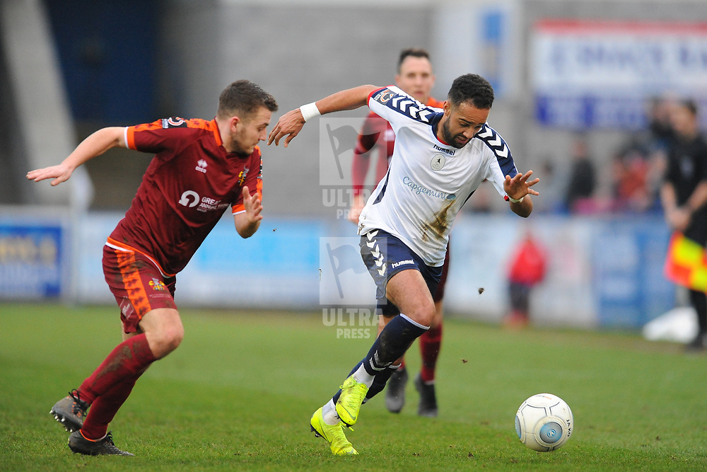 TELFORD COPYRIGHT MIKE SHERIDAN 5/1/2019 - Brendon Daniels of AFC Telford heads past Jacob Hibbs (formerly of AFC Telford) during the Vanarama Conference North fixture between AFC Telford United and Spennymoor Town.
