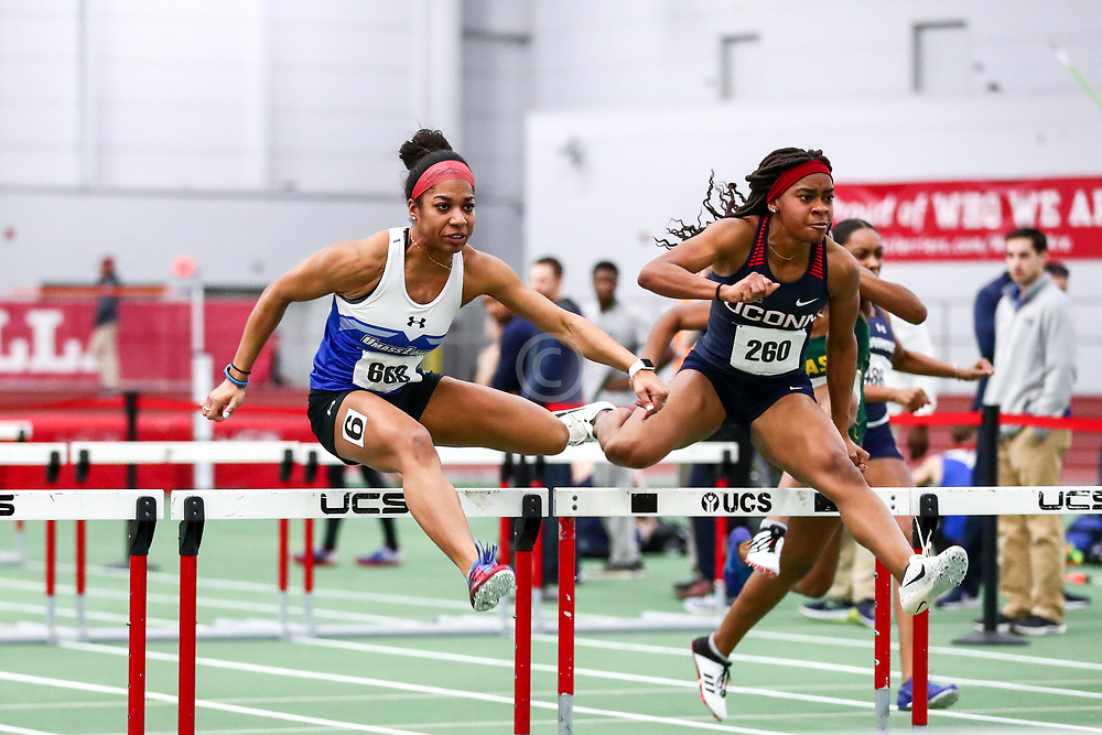 womens 60 hurdles, prelims, heat 3, UMass Lowell, UConn<br /> Boston University Scarlet and White<br /> Indoor Track & Field, Bruce LeHane