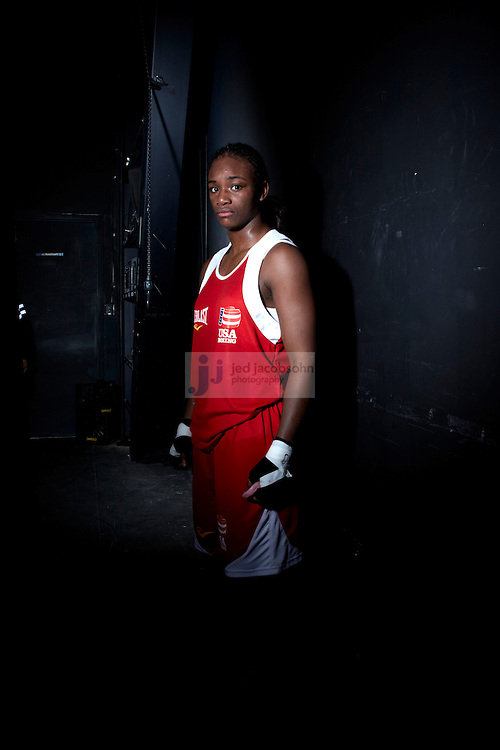 Boxing: US Olympic Trials: Portrait of Claressa Shields before 165 lb fight vs Tika Hemingway at Northern Quest Resort. .Spokane, WA 2/18/2012.CREDIT: Jed Jacobsohn (Photo by Jed Jacobsohn /Sports Illustrated/Getty Images).(Set Number: X86862 TK3 R3 F71 )