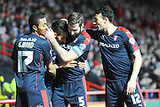 Rotherham United forward Matt Derbyshire celebrates scoring the opening goal with his team mates which gave the visitors a 1-0 lead during the Sky Bet Championship match between Bristol City and Rotherham United at Ashton Gate, Bristol, England on 5 April 2016. Photo by Graham Hunt.