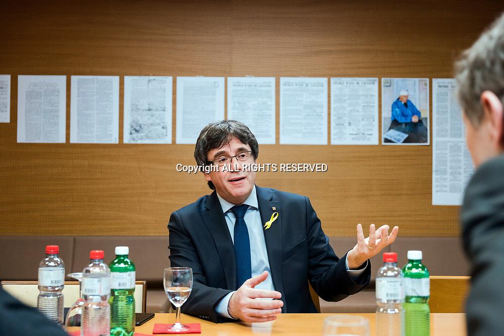 Lausanne, mars 2018. Carles Puigdemont, indépendantiste catalan a Lausanne dans les bureaux de Tamedia Romandie. © Olivier Vogelsang