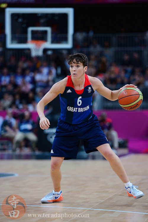 Jul 28, 2012; London, United Kingdom; Great Britain guard Stef Collins (6) dribbles the ball against Australia during the first half at Basketball Arena.