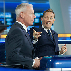 Jim White and Simon Thomas at the Sky Sports TV studio for the transfer Deadline Day show..© Michael Schofield...