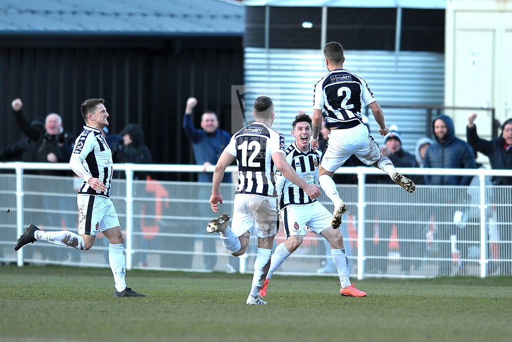 TELFORD COPYRIGHT MIKE SHERIDAN GOAL. Spennymoor's Tyler Forbes celebrates after scoring in injury time to make it 3-3  during the Vanarama Conference North fixture between Spennymoor Town and AFC Telford United at Brewery Field, Spennymoor on Saturday, February 29, 2020.<br /> <br /> Picture credit: Mike Sheridan/Ultrapress<br /> <br /> MS201920-048