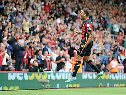 Callum Wilson of Bournemouth celebrates his goal. - Mandatory byline: Alex James/JMP - 07966386802 - 29/08/2015 - FOOTBALL - Dean Court -Bournemouth,England - AFC Bournemouth v Leicester City - Barclays Premier League