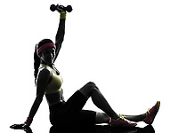 one woman exercising fitness weights training sitting in silhouette on white background