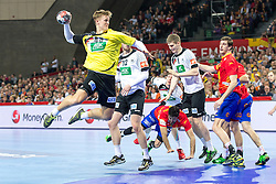 16.01.2016, Hala Stulecia, Breslau, POL, EHF Euro 2016, Spanien vs Deutschland, Gruppe C, im Bild Niclas Pieczkowski (Nr. 43, TuS N-Luebbecke) frei durch // during the 2016 EHF Euro group C match between Spain and Germany at the Hala Stulecia in Breslau, Poland on 2016/01/16. EXPA Pictures © 2016, PhotoCredit: EXPA/ Eibner-Pressefoto/ Koenig<br /> <br /> *****ATTENTION - OUT of GER*****