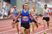 Chris O'Hare wins the 1500m Men during the Muller Anniversary Games at the London Stadium, London, England on 9 July 2017. Photo by Jon Bromley.