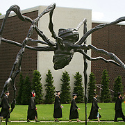 "Students from the Kansas City Art Institute walk in procession to their graduation Saturday afternoon past the Louise Bourgeois sculpture ""Spider, 1997"" at the Kemper Museum of Contemporary Art in Kansas City, Mo. The students were walking from the Art Institute campus to the Community Christian Church at 4601 Main Street, where the ceremony was held."