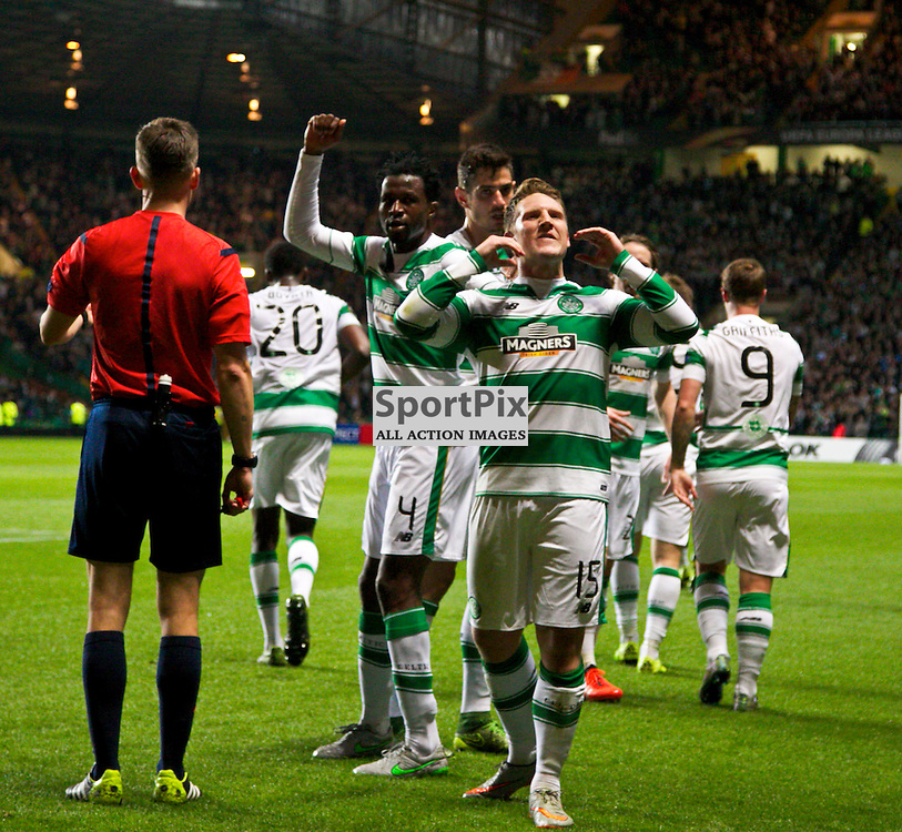 CelticÕs Kris Commons celebrates his goal during the Glasgow Celtic FC v Fenerbahe S.K Europa League Group A 1st October 2015 ©Edward Linton   SportPix.org.uk