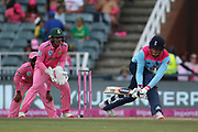 Tom Banton reverse sweep during the One Day International match between South Africa and England at Bidvest Wanderers Stadium, Johannesburg, South Africa on 9 February 2020.