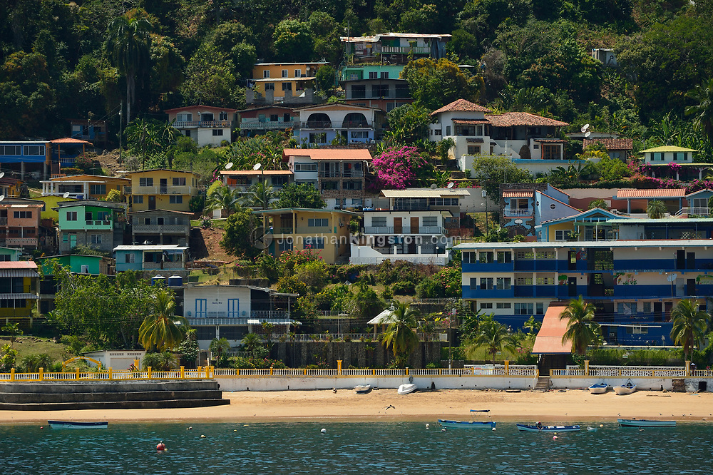 Colorful houses on Taboga Island, a popular vacation spot near Panama City, off the pacific coast of Panama.