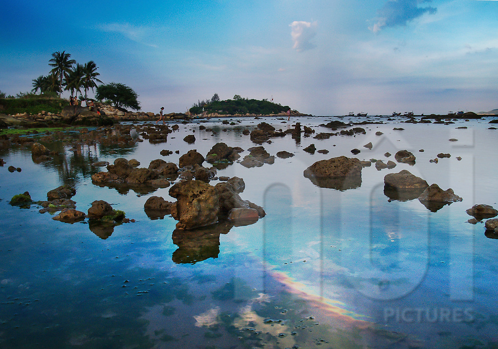 Rocky shore in Nha Trang area, Vietnam, Southeast Asia