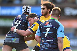 Darren Barry of Worcester Warriors tackles Ben Edwards of Cardiff Blues - Mandatory by-line: Dougie Allward/JMP - 04/02/2017 - RUGBY - BT Sport Cardiff Arms Park - Cardiff, Wales - Cardiff Blues v Worcester Warriors - Anglo Welsh Cup