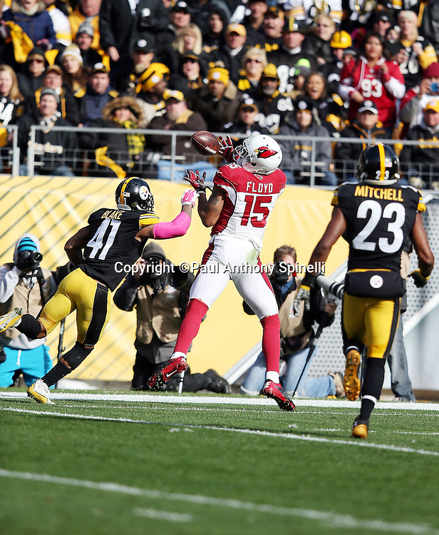 Arizona Cardinals wide receiver Michael Floyd (15) catches a third quarter pass ruled out of bounds while covered by Pittsburgh Steelers cornerback Antwon Blake (41) and Pittsburgh Steelers free safety Mike Mitchell (23) during the 2015 NFL week 6 regular season football game against the Pittsburgh Steelers on Sunday, Oct. 18, 2015 in Pittsburgh. The Steelers won the game 25-13. (©Paul Anthony Spinelli)
