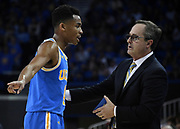 Feb 28, 2019; Los Angeles, CA, USA; UCLA Bruins head coach Murry Bartow (left) talks with guard Jaylen Hands (4n the second half against the Southern California Trojans at Pauley Pavilion. UCLA defeated USC 93-88 in overtime.