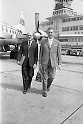 24/05/1964<br /> 05/24/1964<br /> 24 May 1964<br /> Irish delegates leave for International Seed Trade Conference in Venice. Mr Michael Wallis, President of the Irish Seed Trade Association and Director of Townsend-Flahavan Seeds Ltd., Kilmacthomas, Co. Waterford and Mr Denis Coakley, Vice President of the Irish Seed Trade Association and Managing Director of Denis Coakley and Co. Ltd., Seed Merchants, Lower Kevin Street, Dublin, left Dublin for Venice to attend the International Seed Trade Convention that was to be attended by 1,200 delegates including 11 Irish. Picture shows Mr Wallis (left) and Mr Coakley about to board their plane at Dublin Airport.