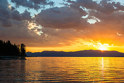 """Sunrise at Lake Tahoe 19"" - Photograph of a vibrant sunrise shot from a small fishing boat during the annual Jakes on the Lake charity fishing derby."