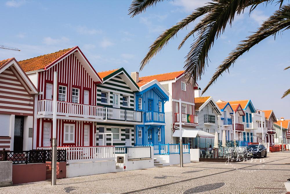 Picturesque striped buildings, Bairro dos Pescadores, Aveiro, Portugal