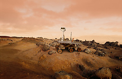 Mars Rover exploration vehicle on the surface of Mars