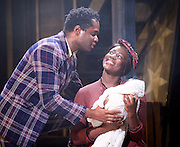 Ragtime <br /> Book by Terrence Mcnally <br /> Music by Stephen Flaherty <br /> Lyrics by Lynn Ahrens<br /> at Charing Cross Theatre <br /> Press photocall<br /> 14th October 2016<br /> directed by Thom Sutherland <br /> <br /> Ako Mitchell as Coalhouse Walker Jr <br /> Jennifer Saayeng as Sarah <br /> <br /> <br /> <br /> Photograph by Elliott Franks <br /> Image licensed to Elliott Franks Photography Services