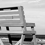 Lifeguard chair close up in black and white