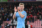 Oleksandr Zinchenko (35) of Manchester City applauds the City fans at full time after a 1-0 win over Bournemouth during the Premier League match between Bournemouth and Manchester City at the Vitality Stadium, Bournemouth, England on 2 March 2019.