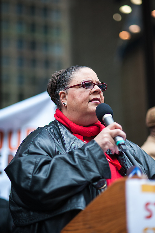 Chicago Teachers Union President Karen Lewis speaks at a rally in downtown Chicago in opposition of the closing of 53 Chicago public schools.