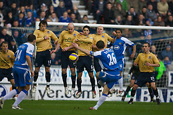 Wigan, England - Sunday, January 21, 2007: Wigan Athletic's Leighton Baines takes a free-kick as Everton's Simon Davies, Lee Carsley, Mikel Arteta and Andy Johnson form a wall during the Premier League match at the JJB Stadium. (Pic by David Rawcliffe/Propaganda)
