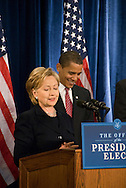 December 1st 2008 - Chicago, IL - Press Conference with newly elected President Barack Obama at the Hilton Hotel in downtown Chicago...Hillary Rodham Clinton speaks at press conference.  Obama announced his security team with Vice President-elect Joe Biden.  Hillary Rodham Clinton was introduced as secretary of state, retired Marine Gen. James Jones as White House national security adviser, Eric Holder as attorney general and Arizona Governor, Janet Napolitano as secretary of homeland security, and United Nations Ambassador Susan Rice. Robert Gates will remain as the defense secretary...Photo Credit: Heather A. Lindquist/Sipa..