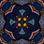 Computer enhanced kaleidoscope of colorful ornamental beaded bracelets from Africa with shapes and colors zooming to center point.