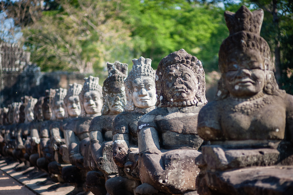 Statues of Angkor warriors (Cambodia)
