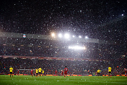 LIVERPOOL, ENGLAND - Saturday, March 17, 2018: A snow storm descends on Anfield during the FA Premier League match between Liverpool FC and Watford FC. (Pic by David Rawcliffe/Propaganda)