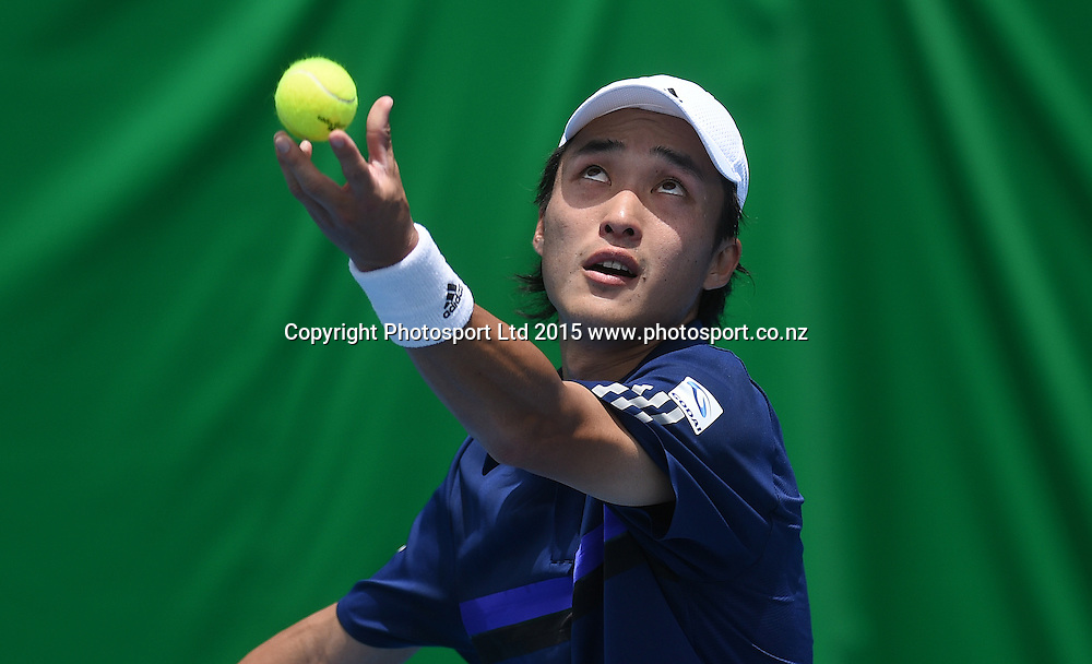 Japan's Go Soeda during his first round singles match on Day 1 at the Heineken Open. Festival of Tennis, ATP World Tour. ASB Tennis Centre, Auckland, New Zealand. Monday 12 January 2015. Copyright photo: Andrew Cornaga/www.photosport.co.nz