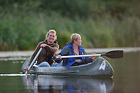 Beaver safari per canoe near Rieth, Germany,  Oder river delta/Odra river rewilding area, Stettiner Haff, on the border between Germany and Poland