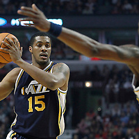 10 March 2012: Utah Jazz forward Derrick Favors (15) looks to pass the ball during the Chicago Bulls 111-97 victory over the Utah Jazz at the United Center, Chicago, Illinois, USA.